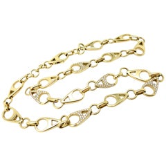 Designer Asprey of London 18 Karat Gold Diamond Pave Teardrop Necklace Chain