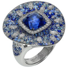 AIGS Certified 6.14 Carat Sapphire Diamonds 18 Karat White Gold Cocktail Ring