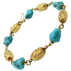 Estate Vintage Turquoise and 18 Karat Yellow Gold Nugget Link Bracelet