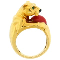 Cartier Yellow Gold and Coral Panther Ring