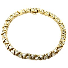 Estate 14 Karat Yellow Gold Round Diamond Tennis Bracelet