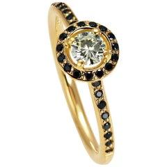 Kata 18K Yellow Gold 0.30ct Yellow Diamond Halo Cluster Ring with Black Diamonds