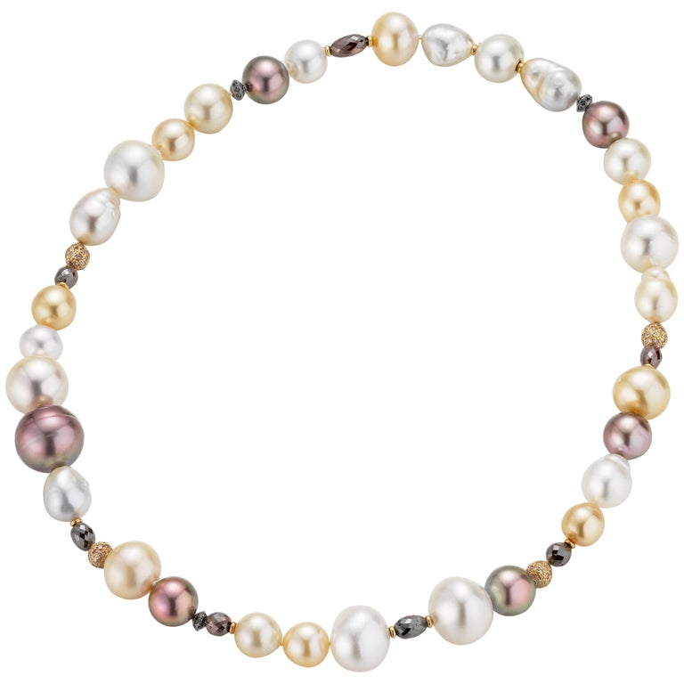 18 Karat Rose Gold Sparkling Multi-Color Cultured Pearl and Diamond Necklace
