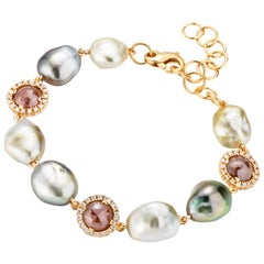 18 Karat White Gold Multi-Color Cultured Pearls and Diamond Bracelet