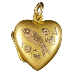 Antique Edwardian Heart Bird Locket 9 Carat Gold Dated 1904
