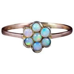 Antique Victorian Opal Flower Ring 9 Carat Gold, circa 1900