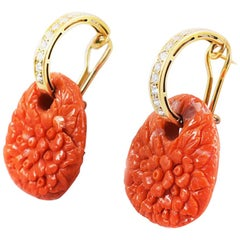 Ansuini Coral Hand Carved Earrings 18 Karat Gold with Diamonds