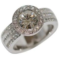 Diamond Wedding, Engagement Ring with Solitaire 2.1 Carat, IF, 18 Karat Gold