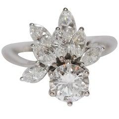 Diamond Wedding Ring with Solitaire 1.01 Carat, River, VS1, 18 Karat Gold