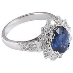 Ansuini Classic Sapphire and Diamond 18 Karat White Gold Engagement Ring
