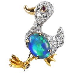 Handmade 18 Karat White Gold Duck Brooch with Diamonds Ruby and Doublet Opal