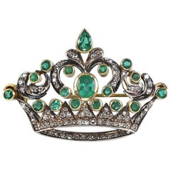18k White and Yellow Gold Early 1900s Crown Brooch with Emeralds and Diamonds