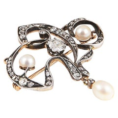 Liberty, Art Nouveau Brooch Late 1800s with Pearls and Rosette Diamonds