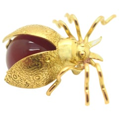 Lady Bug Pin 18 Karat Yellow Gold Carnelian Chalcedony