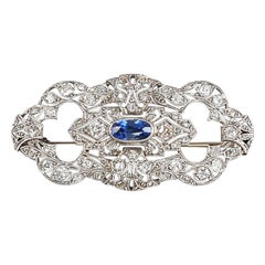 Early 1900s Art Deco 18 Karat White Gold Brooch with Sapphire and Diamonds