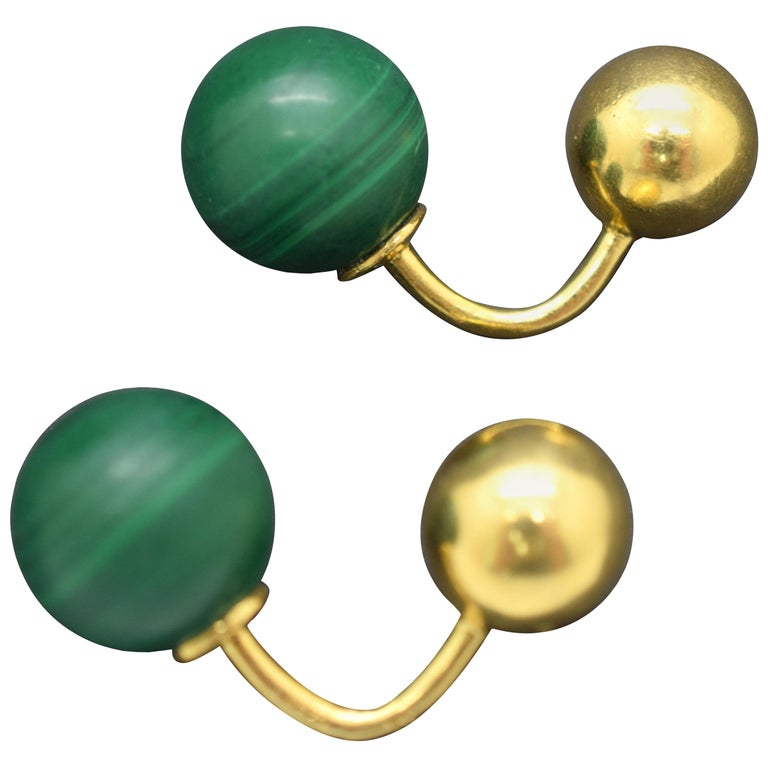 Cartier Malachite Cufflinks 18 Karat For Sale