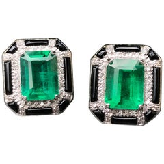 3.85 Carat Zambian Emerald and Diamond Stud Earring