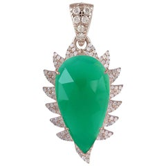 Meghna Jewels Claw Green Onyx Diamonds Pendant