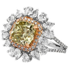 GIA Certified 5.22 Carat Natural Fancy Deep Green Yellow And White Diamond Ring