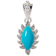 Meghna Jewels Claw Marquise Turquoise Diamonds Necklace Pendant