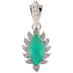 Meghna Jewels Claw Marquise Green Onyx Diamonds Necklace Pendant