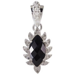 Meghna Jewels Claw Marquise Black Onyx Diamonds Necklace Pendant