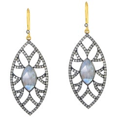 Meghna Jewels Bora Bora Marquise Earrings Moonstone Diamonds