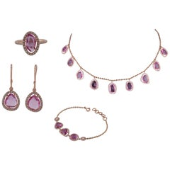 Rose Cut Pink Sapphire and Diamond 18 Karat Rose Gold Suite