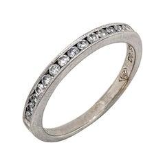 14 Karat White Gold .35 Carat Diamond Channel Set Stackable Wedding Band Ring