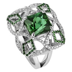KATA One-of-a-kind 18K Showpiece 3.71ct Green Tourmaline Diamond Cocktail Ring