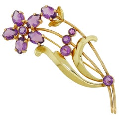 1940s 14k Gold Wordley Allsopp and Bliss Amethyst Floral Pin Brooch WAB 15.25G