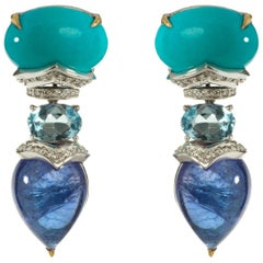 Turquoise, Tanzanite and Aquamarine with White Diamonds Drop Earrings