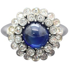 Sapphire and Diamond 18 Karat Cabochon Ring