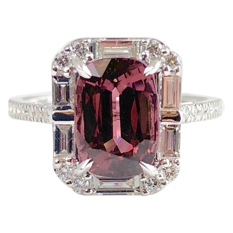 4.95 Carat Cushion Cut Raspberry Garnet and 1.19 Carat Diamond Cluster Ring For Sale