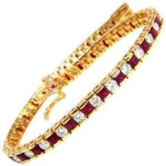 7.20 Carat Natural Ruby Diamonds Alternating Channel Line Bracelet 14 Karat