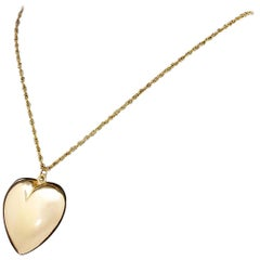 Large Vintage 14 Karat Gold Puffy Love Heart Pendant for Necklace 1950s Beauty