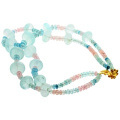 Aquamarines and Morganites 'Beryl' Necklace with Gold-Plated Clasp