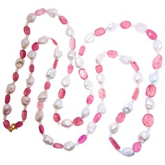 Sautoir of fine natural Pink Tourmaline and Baroque Pearls