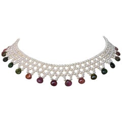 White Pearl and Multi-Color Tourmaline Woven Necklace with Sterling Silver Clasp