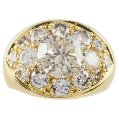 4.82 Carat Round Brilliant Diamond 18 Karat Yellow Gold Cocktail Ring
