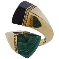 Oakgem Diamond Onyx Malachite Gold Bypass Ring
