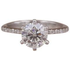 Diamond Engagement Ring Round 1.74 Carat G SI1 14 Karat White Gold