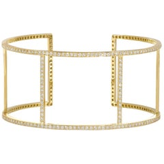 18 Karat Yellow Gold Pavé White Diamond Wire Cuff