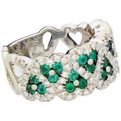 Craig Drake Love Heart 18 Karat White Gold Diamond Emerald Eternity Band Ring