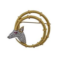 Tiffany & Co. Schlumberger Ibex Diamond Ruby Gold Platinum Brooch