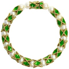 Akoya Cultured Pearl and Green Enamel Gold Bracelet