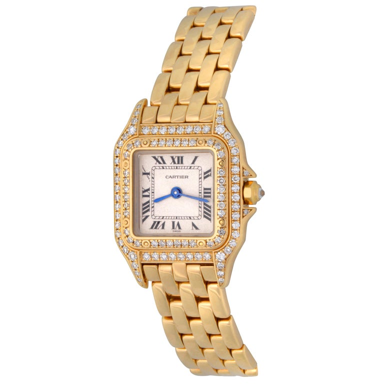 Cartier Ladies Yellow Gold Diamond Panther Quartz Wristwatch