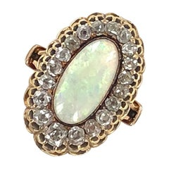 Georgian Antique Opal Diamond Yellow Gold Cocktail Ring