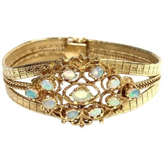 Vintage Opal Cluster and Gold Bracelet