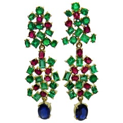 19.40 Carat Vintage Style Emerald Ruby & Burma Sapphire Dangle Earrings 18K
